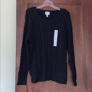 NWT black long sleeved cable knit crewneck sweater